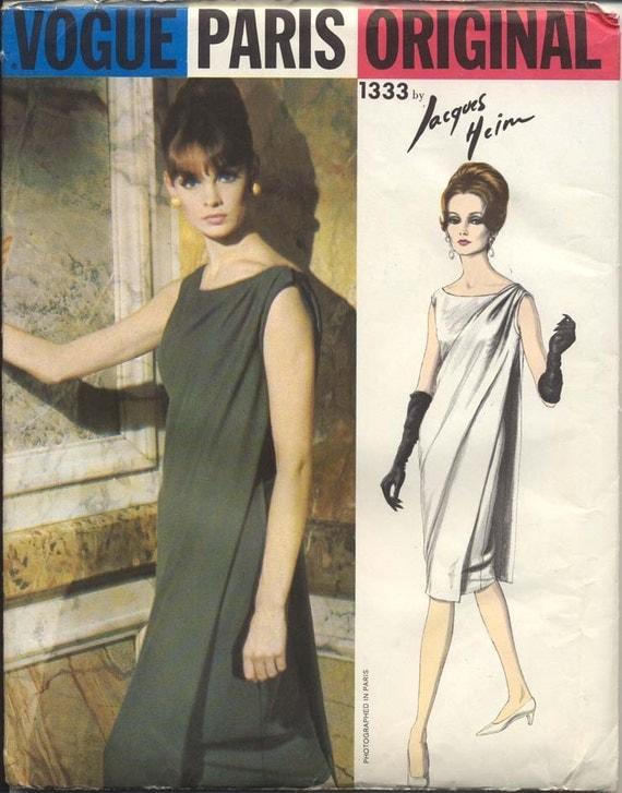 Vogue Paris Original 1333 Misses 1960s Dress Pattern Jacques Heim Evening Dress with Tunic Mod Womens Vintage Sewing Pattern Bust 31 UNCUT