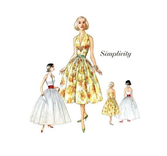 1950s Halter Dress Pattern Simplicity 2538 Misses Summer Evening Dress with Cummerbund Bust 34 Womens Vintage Sewing Pattern UNCUT