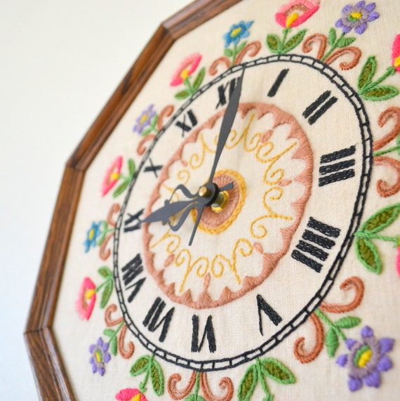 Colorful Floral Embroidered Wall Clock. Vintage 1960s. Large Wooden Frame