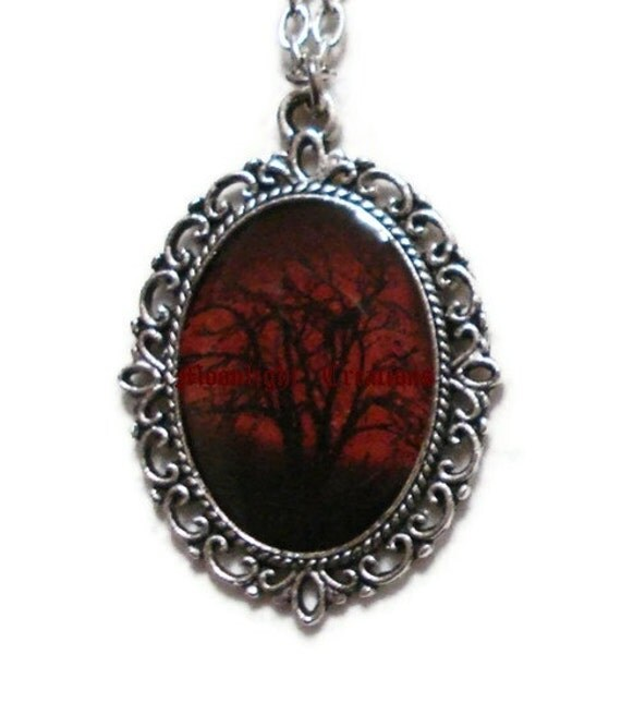 Ruby Sky Necklace Tree Pendant Red And Black