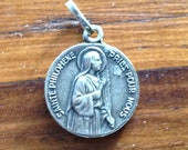 Saint Philomena & Blessed JBM Vianney the Priest of ARS Vintage Religious Medal on 18 inch sterling silver rolo chain