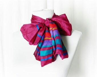 Vintage 80s Silk Long Scarf Ascot Bow Magenta Striped Liz Claiborne Rectangular