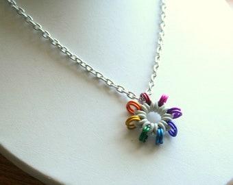Rainbow Sunburst Pendant with 18 inch chain