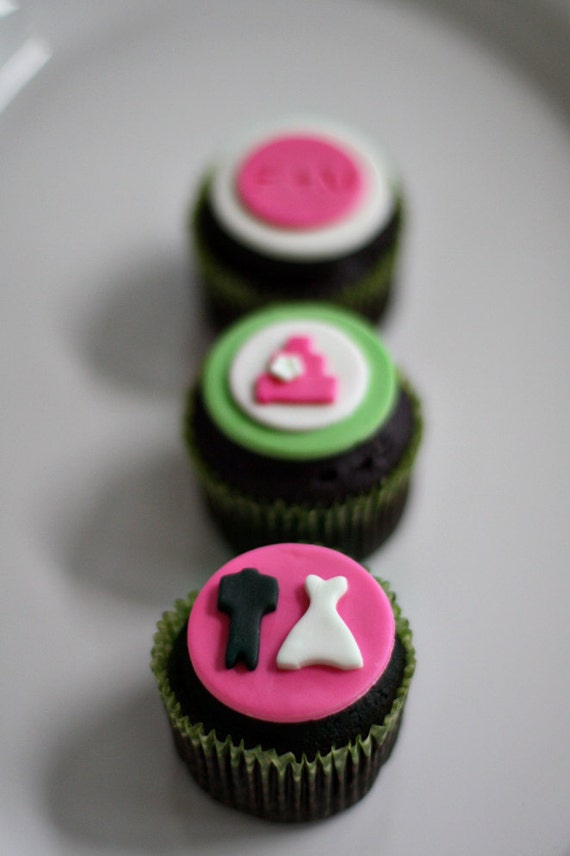 Fondant Wedding Cake, Bride and Groom and Initial Toppers for Decorating Engagement or Wedding Cupcakes