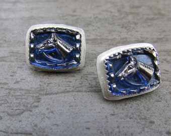 Horse Jewelry Glass Intaglio Blue Hunter Jumper Thoroughbred Horse Studs Post Earrings