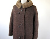 1960s Brown Bouclé Coat Mink Fur Collar Womens Size Medium Large