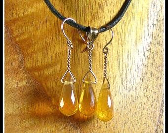 Oregon Fire Opal Briolette Pendant & Earring Set