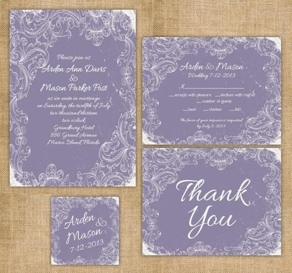 Items Similar To Printable Wedding Invitation Suite Diy Rustic, Wedding  Invitations