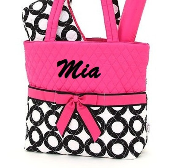 Personalized Diaper Bag Quilted 3pc Black Fuchsia Circle