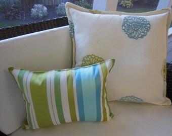 Blue Green Chenille Pillow - Cream Designer Pillow - Kutter Fresh BHG Designer Pillow - Reversible 20 x 20 Inch - Pillow Insert Included