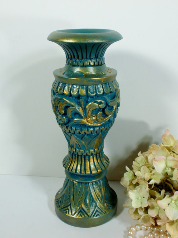 Carved wood Candle Holder / candleholder / candlestick holder / turquoise and gold / shabby chic / solid wood / upcycled for taper candles