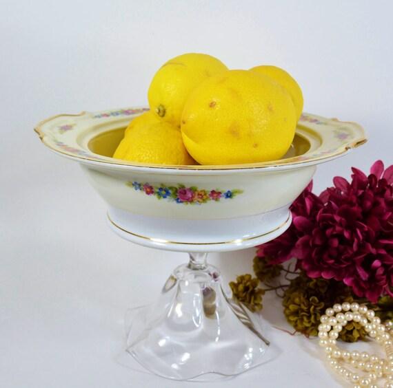 Pedestal bowl / candy bar buffet / wedding dessert bar / decorative bowl / pretty glass serving bowl / upcycled