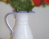 Vintage White Blue Vase Pitcher Ceramic  High Gloss Scrollwork Handle