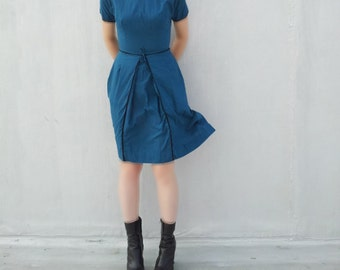 1960s Blue Cotton Fit and Flare Dress 60s Vintage Small Mod Teal Black Goth Lolita Full Pleated Skirt School Girl 50s Mid Century Day Dress