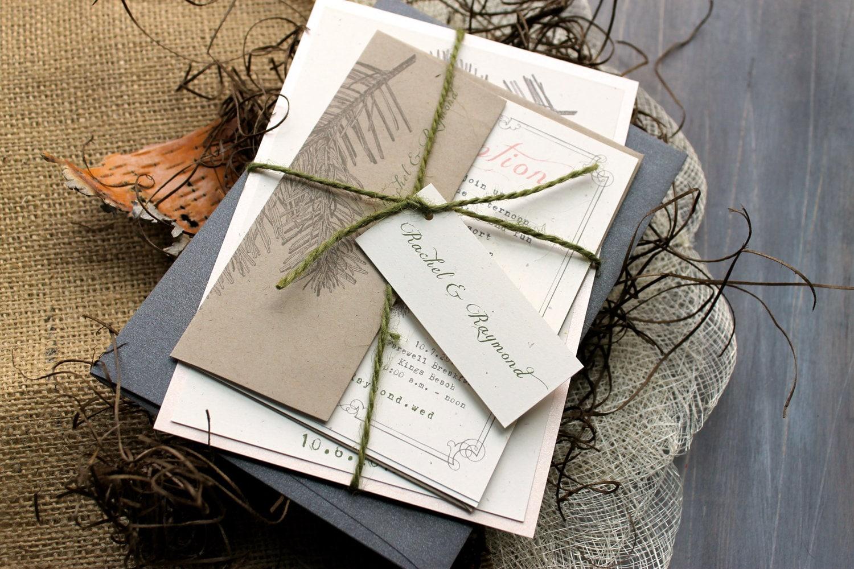 Rustic Romantic Wedding Invitations: Rustic Elegant Wedding Invitations Peach Wedding Invitations