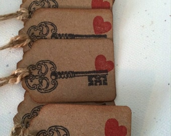 Skeleton Key Paper Gift tags- Key to my Heart-Kraft paper Gift tags-Wedding Favor tags-Bridal showers Gift tags-personalized Favor tags
