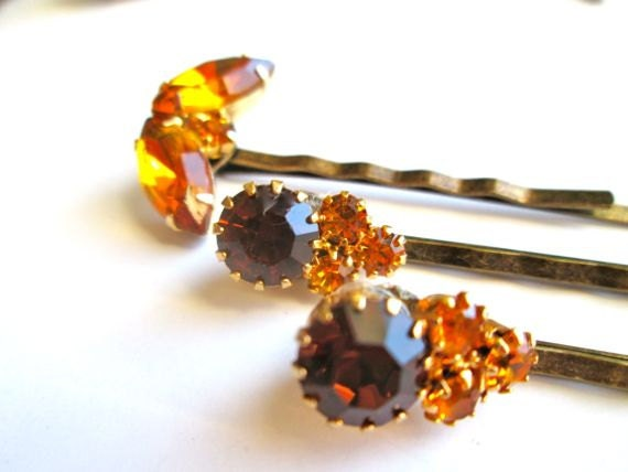 Amber Yellow Jeweled Hairpins Holiday Fashion Accessories Vintage Jewelry Rhinestones