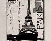 Custom Clip Art Design Transfer Digital File Vintage Download DIY Scrapbook Shabby Chic Pillow Paris Eiffel Tower Stamp Post Card No. 0583