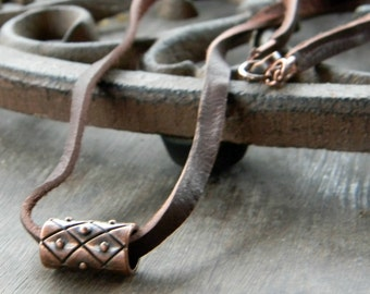 Mens leather cord necklace - Copper necklace - Handmade mens jewelry - jewellery - Leather cord - Graduation gift - for him -Father's day
