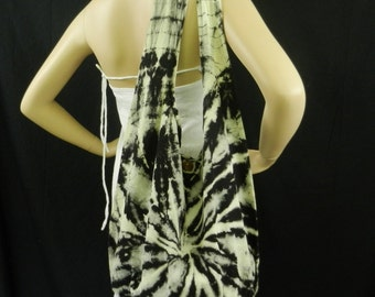 Tie Dye Bag Purse Crossbody Sling Hobo Hippie Messenger Celebrity OOAK Top Zip Black Gray VJ1