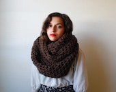 The Oversized Cowl or Hood Hand Knit in Chocolate Brown Wool Blend