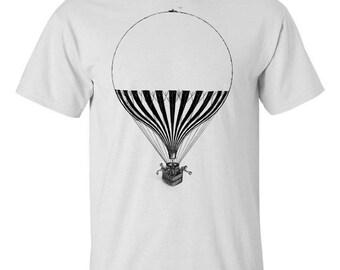 Mens Screen Printed Steampunk Hot Air Balloon Shirt