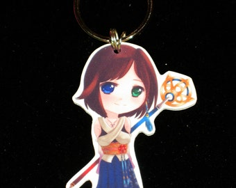 Chibi Summoner Yuna Charm - Final Fantasy X  Keychain, Cell Phone Charm, Sterling Silver Earrings, Clip on Earrings or Necklace