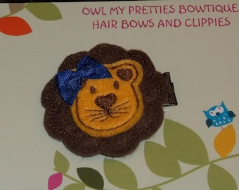 BROWN GOLD Blue Felt LION Felt Hair Clip Baby Toddlers Girls