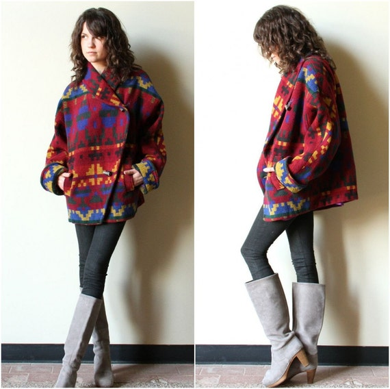 Tribal Blanket Jacket Woven Wool Navajo Inspired Shawl Collar