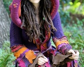 Ready Now Fall  gypsy  faery dream traveling patchwork upcycled Katwise style recycled sweater coat
