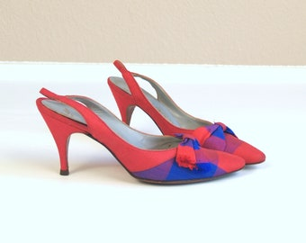 vtg 50s red and blue PLAID bows PINUP HEELS pumps 6 or 6.5 kitten bombshell