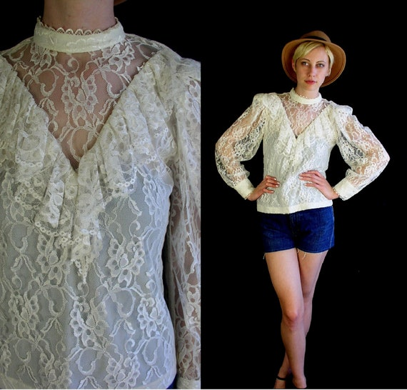 vtg 80s Cream Sheer LACE romantic VICTORIAN BLOUSE top boho Small shirt hippie