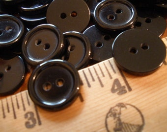 "Big Lots Black Buttons - 150 Plastic 9/16"" (14MM 22L) 2-hole sew-on sewing crafts scrapbooking jewelry flatback bulk"