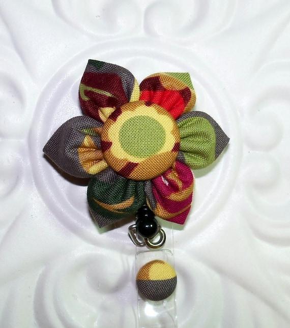 Id Badge / Retractable Id Badge Holder / Lanyard /  Kanzashi Flower Gray Background With  Green Gold Fuchsia