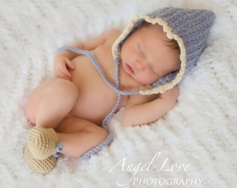 Periwinkle Pixie Elf Hat for Newborn Baby Photo Prop in Pure Alpaca