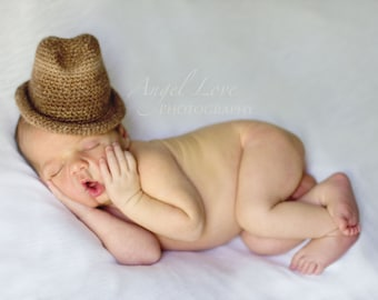 Alpaca Fedora Baby Hat Photo Prop Undyed Natural Brown Eco Friendly Newborn Size