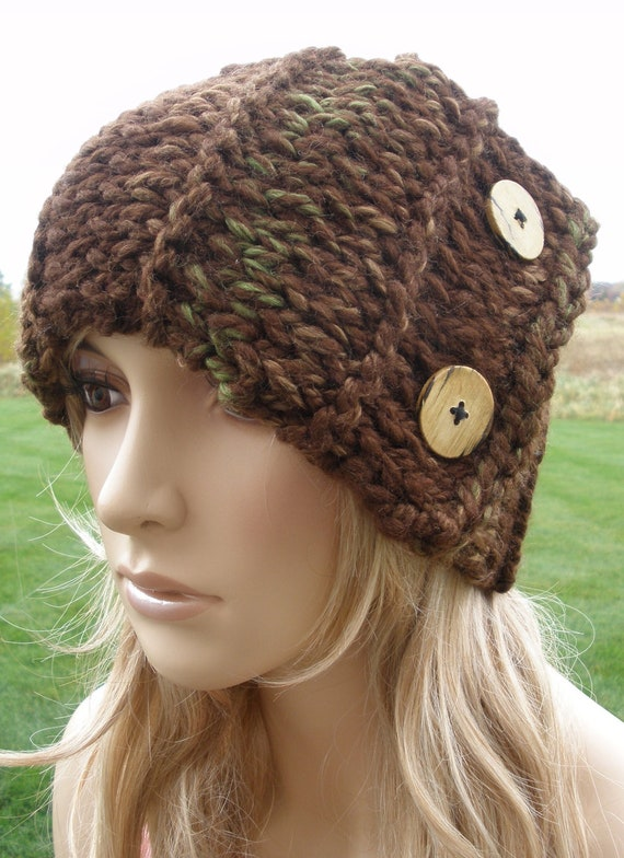 Woodsy Brown Green And Tan Chunky Fall Hand Knit Headband Headwrap Earwarmer Neck Warmer With Wood Buttons