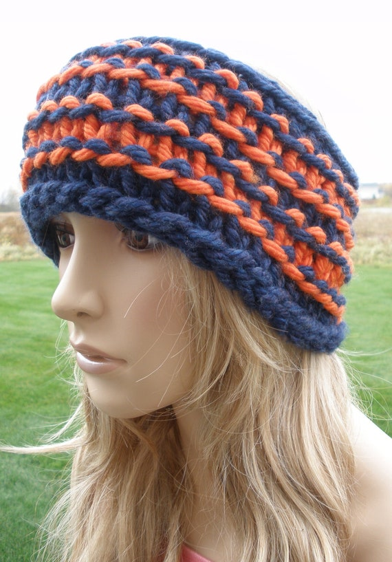 Custom Order For Rhondabyrd Orange And Navy Blue Chunky Knit Headband Headwrap Chicago Bears Colors Football