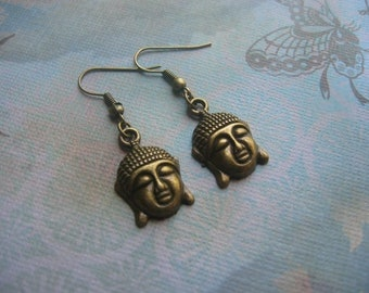 Buddha Earrings - Antiqued Bronze, Good Luck Buddha Charm