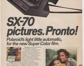 1976 Polaroid SX - 70 Pronto Camera Advertisement Super Color Film 70s Instant Photography Photos Photographs Studio Wall Art Decor