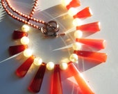 Hot Red Sun handmade statement necklace  237