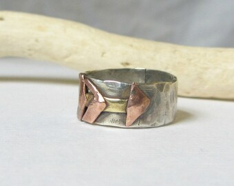 Rustic Arrow Ring- Sterling Silver Hammered Band Ring