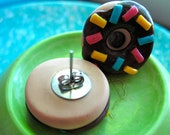 Donut Earrings - Chocolate Frosted Donuts with Sprinkles Stud Earrings - Polymer Clay
