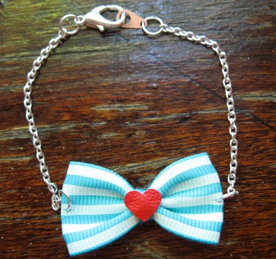 Striped Blue & White Bow Bracelet with Red Heart Center