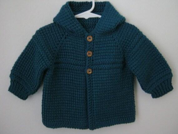 Dark Teal Boy Sweater with Hood.  6-12 Months in Tunisian Crochet - Handmade