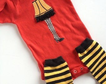 Christmas Story Leg Lamp on Red Long Sleeve One Piece Bodysuit with hand dyed leg warmers