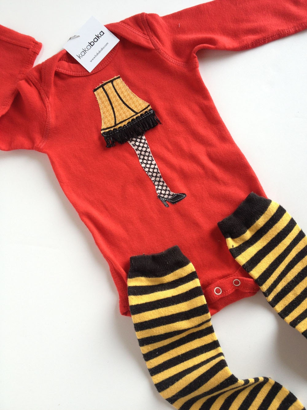 Christmas Story Leg Lamp on Red Long Sleeve One Piece Bodysuit