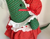 Vintage Christmas Handmade Granny Country Mouse Doorstop - VintageFunkHouser