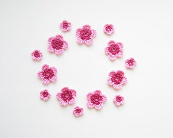 Crochet Flower Applique, Pale Pink & Vintage Pink, Set of 14