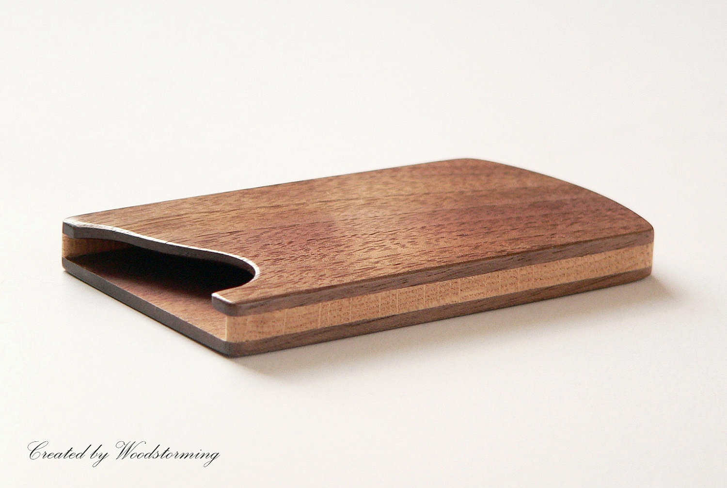 Wood business card holder business card case by woodstorming for Wooden business card case